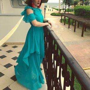 ASOS Teal ruffle trim dress